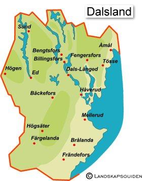 karta dalsland Famgus Vykort: Dalsland, 1940  och 50 talen i färg karta dalsland